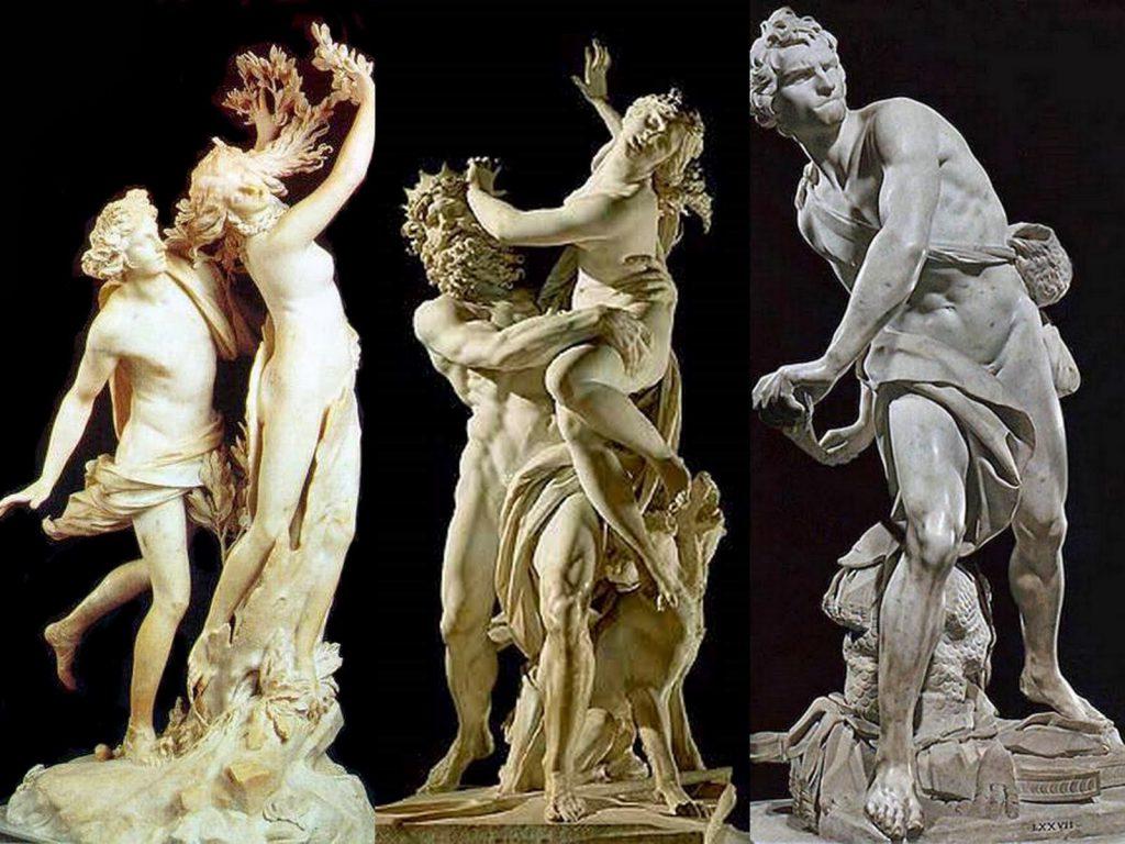 Proserpina'nın kaçırılışı, (1621–22), Apollo ve Daphne (1622–25) ve David (1623-24) - Bernini - Borghese Sarayı