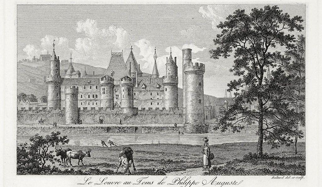 Louvre Kalesi - İlk inşa edildiği dönemi yansıtmaya çalışan 17. yy çizimi